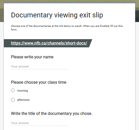 Google form exit slip