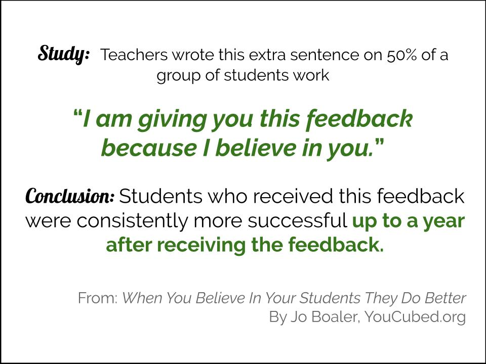 """Study: Teachers wrote this extra sentence on 50% of a group of students work, """"I am giving you this feedback because I believe in you."""" Conclusion Students who received this feedback were consistently more successful up to a year after receiving the feedback."""
