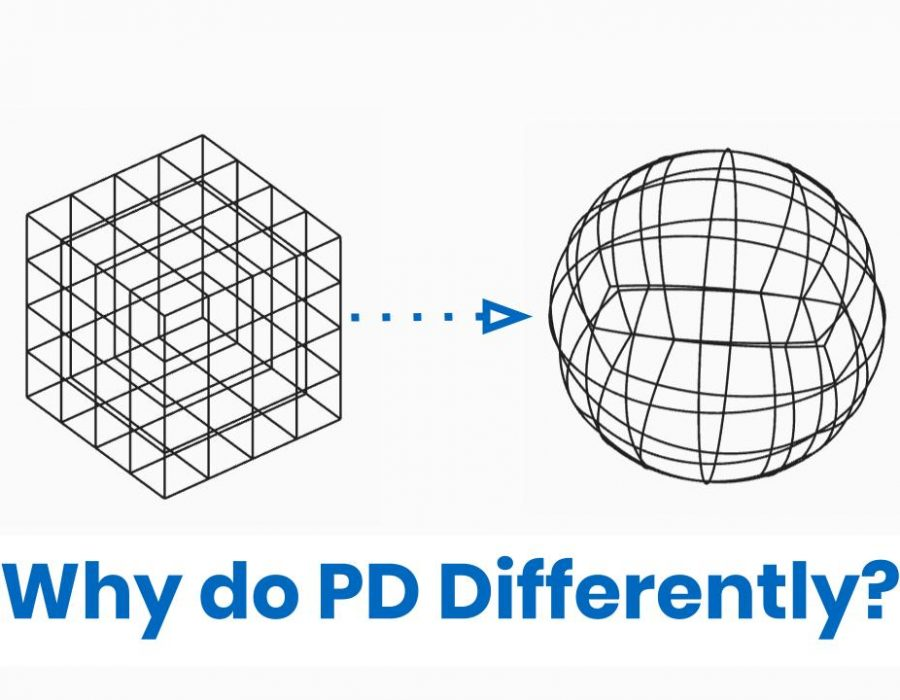 Image of cube transforming to sphere with text: Why do PD Differently?